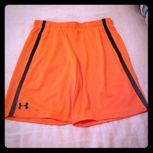 Under Armour orange neon basketball workout shorts